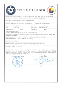 Manufactured-in-Turkey Certificate For Centerator Series of Machines