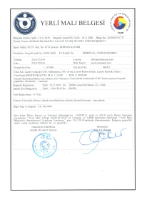 Manufactured-in-Turkey Certificate For Laserator Series of Machines